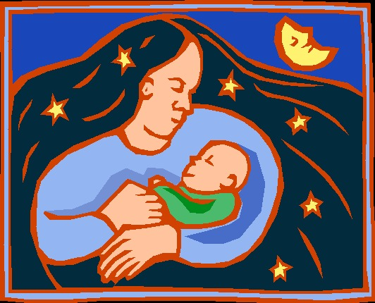 Рисунок мама с ребёнком на руках