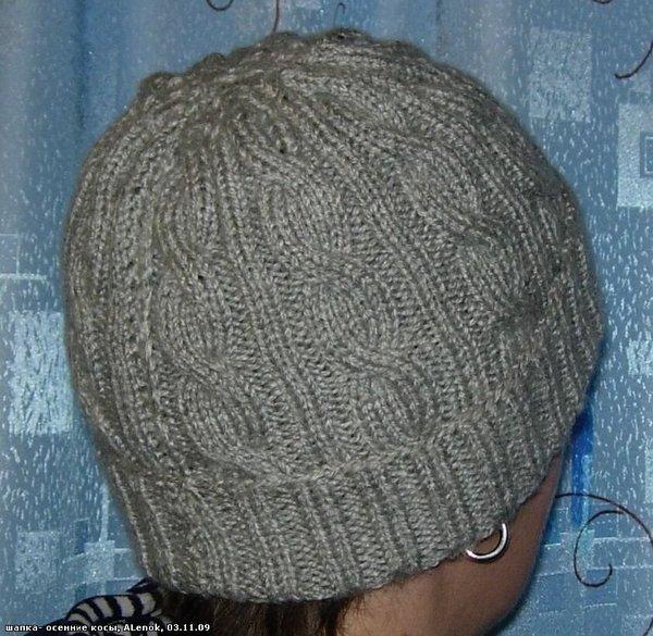 Вязание шапки с узором из кос 804