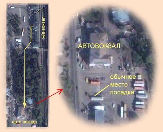 Схема перехода с железнодорожного вокзала на автовокзал в городе Пскове.