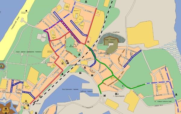 2. красный пунктир - маршрут движения рейсовых автобусов, не маршруток.