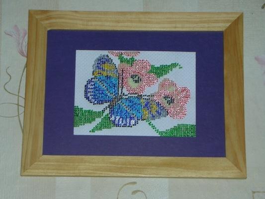 nahd-made, бабочка, бисер, вышивка, вышивка бисером, картина, цветы.
