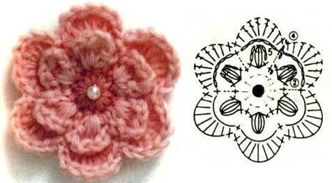 вязание крючком цветы, бабочки