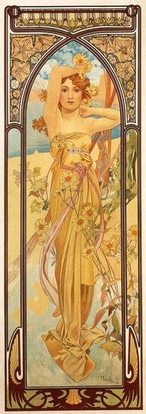 Альфонс Муха Дневной порыв. Из серии Время суток. 1899