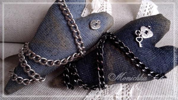 Пара джинсовых сердец