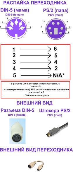 Переходник DIN-5 to PS/2
