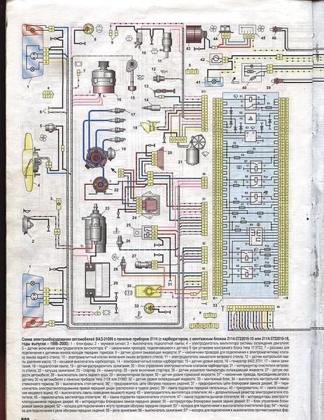 Фото схема электрооборудования ваз 21099 карбюратор с панелью