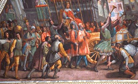 Альфонсо въехал в Неаполь в золотой карете