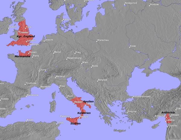 На этой карте красное пятно на юге Франции изображает Нормандию