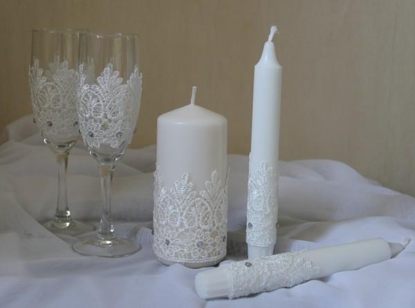 Украсить свечи на свадьбу своими руками видео