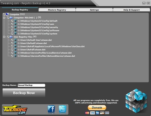 Registry Backup позволяет выполнять резервное копирование реестра, а также