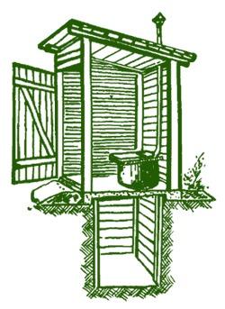 деревянный туалет с выгребной ямой