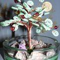 Я делала деревца с бусинами (как ягодки), и с колокольчиками.  И всё же это уже не ДЕНЕЖНОЕ дерево получается.