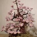 Вид с разных сторон.  Цветы сделаны из бисера, ствол: проволока, гипс.