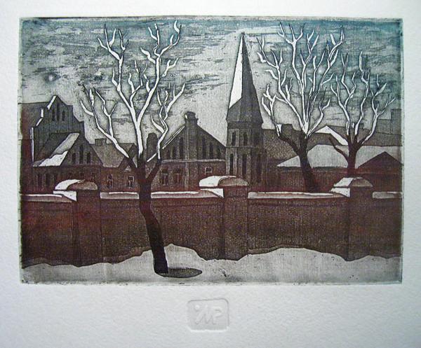 Первый весенний закат. Офорт, 2010 г.