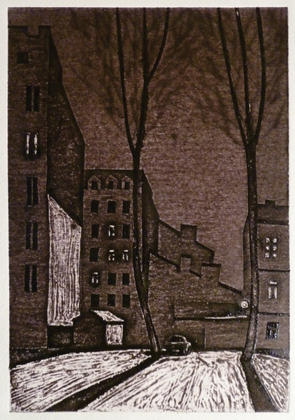 Frosty evening. engraving on cardboard, 15х26 сm., 2012.