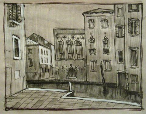 Венеция. Эскиз. бумага, карандаш, маркер, белила, 2010 г.