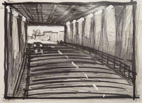Kanonersky tunnel. Sketch. paper, pencil, marker, whitenings..