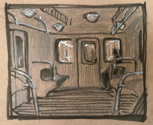 The Dark Carriage. Sketch. paper, pencil, marker, whitenings.