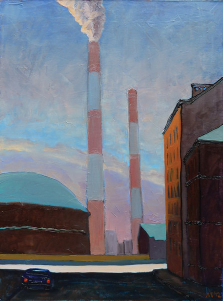 Gasholder in frosty morning. oil on canvas, 50x70 cm., 2012.