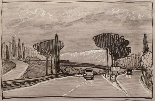 Twilight on the route to Livorno. Sketch.  paper, pencil, marker, whitenings.