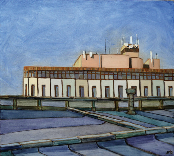 Office building roof. oil on canvas, 90x80 cm., 2012.