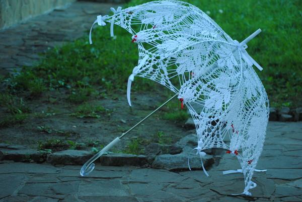 Зонт связанный крючком. нитки