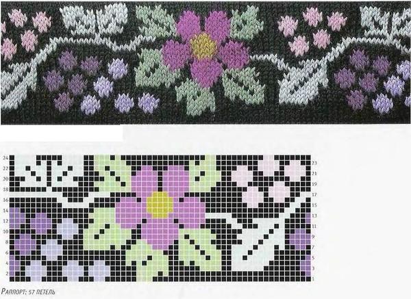 Схемы узоров цветного вязания спицами 446