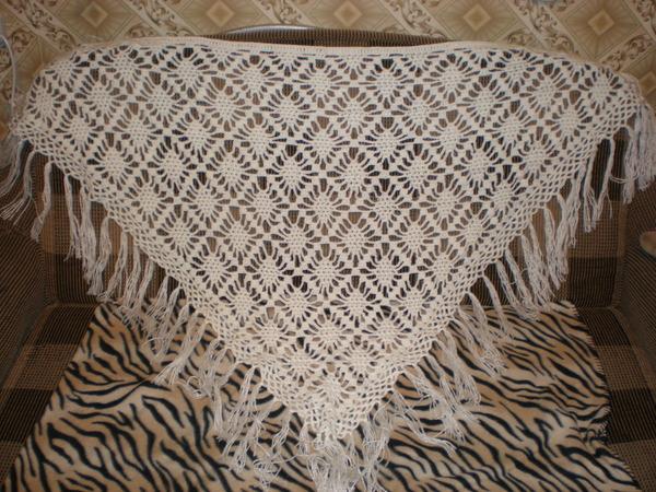 схема вязания ажурной шали крючком в