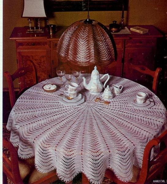 Скатерть, абажур и юбка спицамиПрекрасный пример по использованию одной схемы для трёх разных изделия...