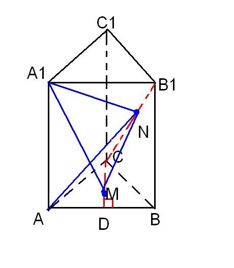 Дана правильная треугольная призма ABCA1B1C1 со стороной основания а=sqrt(7/3).  Точка M лежит на высоте основания CD...