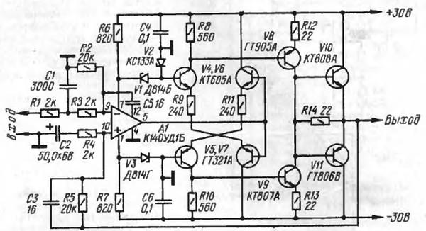Уж не знаю наколько качественный Вот старый усилитель Агеева.  На выходе ГТ806+КТ808.