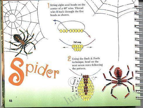 Схема плетения с бисера паука