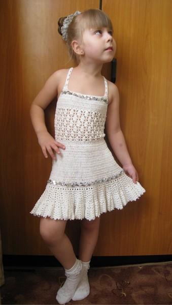 Вязанный летний сарафан для девочки