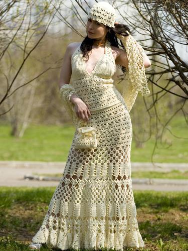 Длинная белая юбка крючок