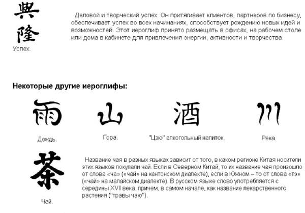 Значение китайских иероглифов.