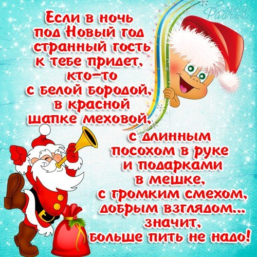 Новогоднее прикольное смс поздравление с