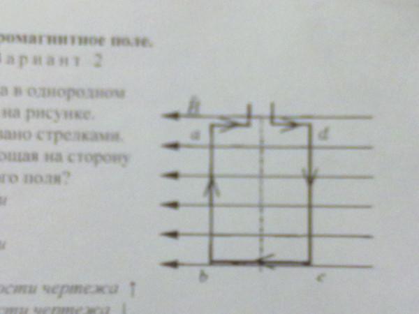 На рисунке направление тока в рамке