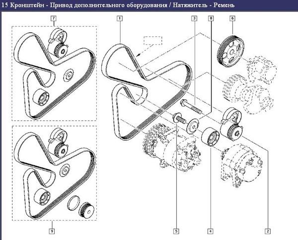 Схема установки ремня