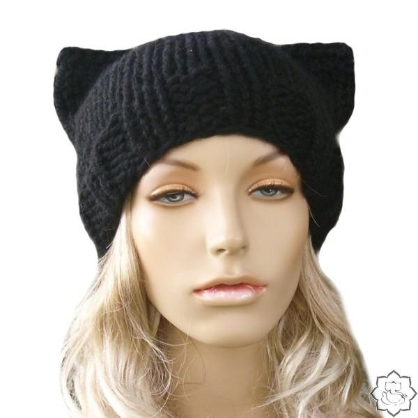 Как связать шапку кошку фото