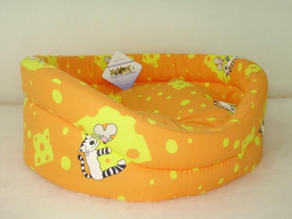 Лежак с бортиком КОШКИ (жёлтый)