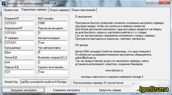 Программа для быстрой настройки сервера Lineage 2 от разработчиков PW-Soft.