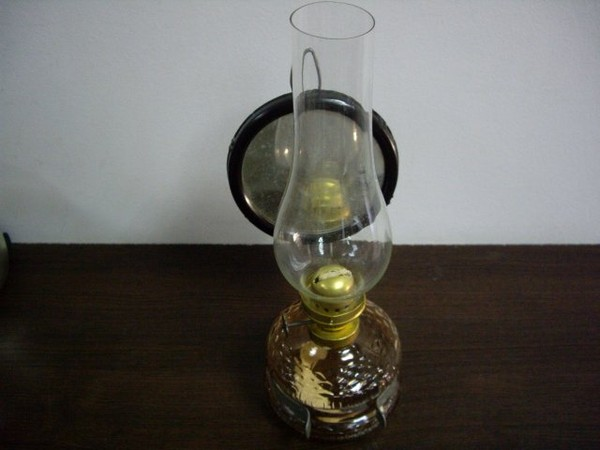 Antique Aqua Brown Glass Oil Wall Lamp With Reflector Ebay