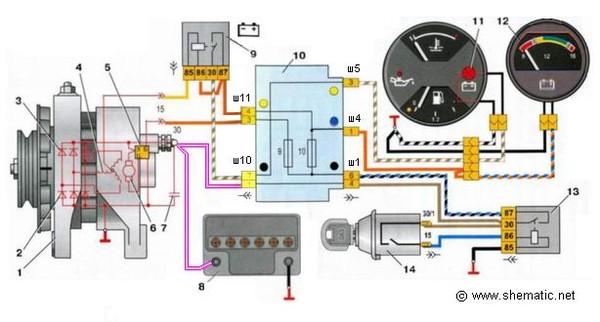 Подключение генератора на ВАЗ