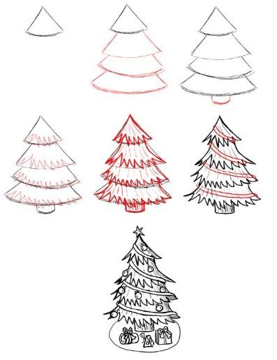 Как нарисовать елку рисунок