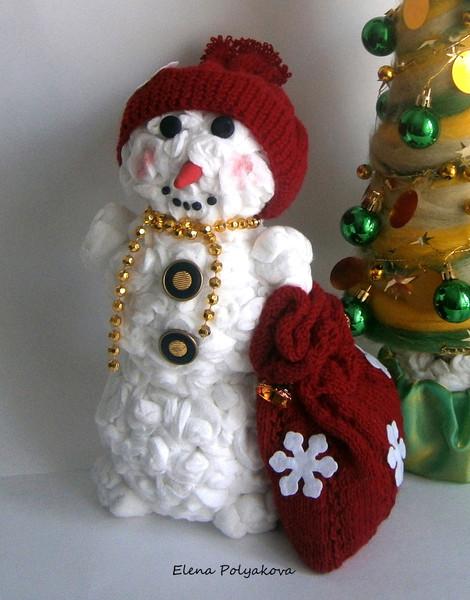 Объемный снеговик из салфеток своими руками