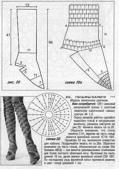 Вязаные сапоги крючком схемы и