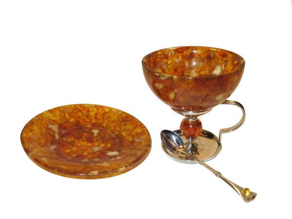 """Деликатесный набор """"Шар"""" 2 персоны (6 предметов) . Конфетницы.  Посуда из янтаря. ПОСУДА ИЗ ЯНТАРЯ. Артикул : HD8-4302-2"""