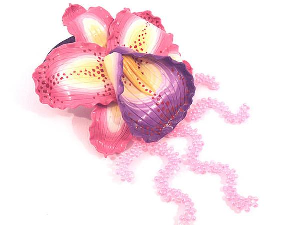 Украшения ручной работы.  Ярмарка Мастеров - ручная работа Резинка для волос с орхидеей.  Handmade.