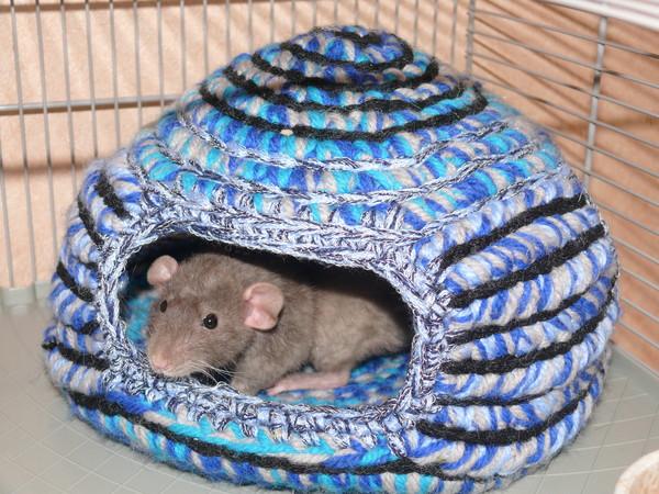 Вязаный гамак для крысы своими руками 80