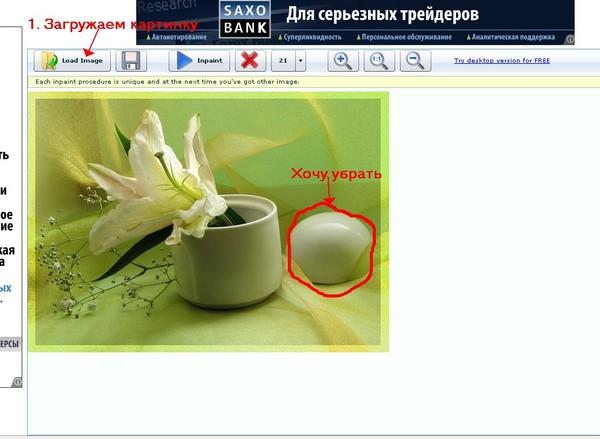 Ненужный объект на фотографии или картинке. 43873